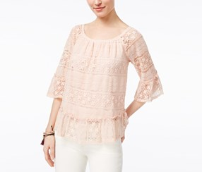 Style & Co Petite Lace Off-The-Shoulder Top, Crushed Petal