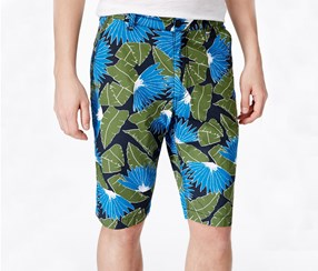 American Rag Tropical Print Flat-Front Short,Deep Black