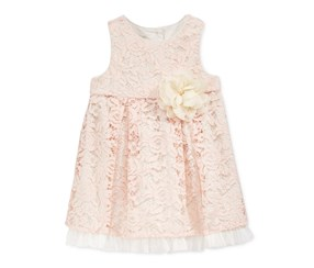Marmellata Baby Girls' Floral-Lace Dress, Cream