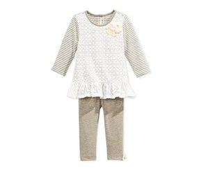Marmellata Baby Girls' 2-Pc. Stripes Tunic & Leggings Set, Olive