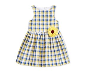 Marmellata Plaid Sunflower Dress, Navy/Yellow