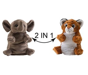 Switch A Rooz Tiger/Elephant Tubby and Cubbie Plush, Brown/Grey