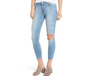 DL1961 Florence Instasculpt Ripped Crop Skinny Jeans, Wash Clifton