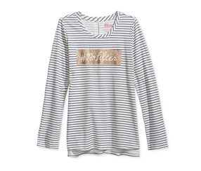 Girls Graphic-Print Long-Sleeve Top, Holiday Ivory