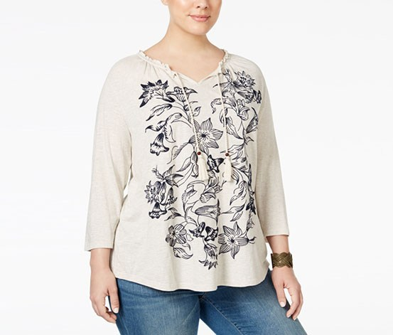 421caf957c4a6 ... Style Co Plus Size Embroidered Peasant Top