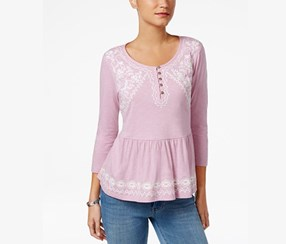 Style Co Petite Embroidered Peplum Top, Lavender