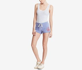 Women Graphic French Terry Cotton Short, Lakeside Blue