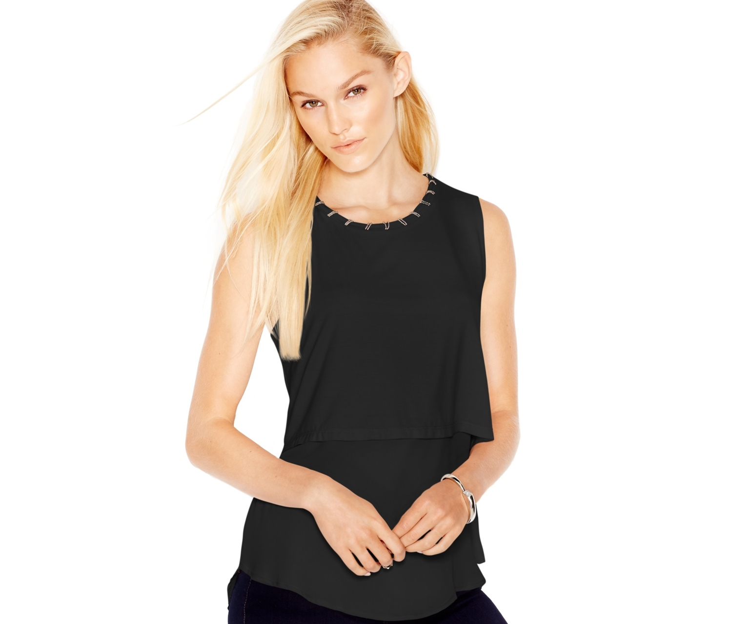 06843e9108 Bar III Embellished Layered Top,Deep Black - Brands For Less