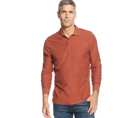 Tasso Elba Long-sleeve Marl Polo Shirt, Rust Marl