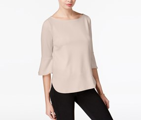 Bar III Textured Bell-Sleeve Top, Ballet Pink