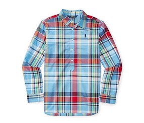 Ralph Lauren Girls' Plaid Popover Shirt, Blue/Red