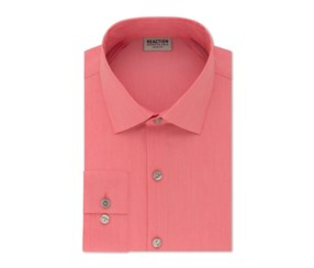 Kenneth Cole REACTION Men's Slim Fit Spread Collar Long Sleeve Dress Shirt, Pink