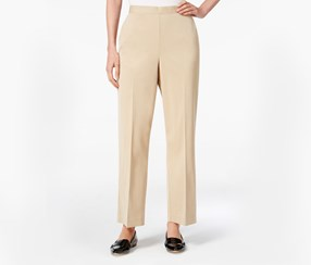 Alfred Dunner Petite Pull-On Straight-Leg Pants, Stone