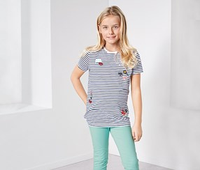 Girls T-shirt With Patches, Blue/White