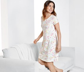 Women's Nightdress, White Floral