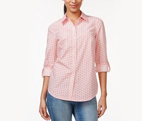 Charter Club Printed Button-Down Shirt, Strawberry Ice