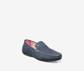 Stacy Admas Mens Pippin Perf Driving Moc Shoes, Navy