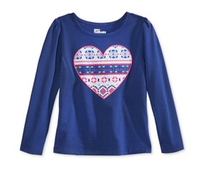 Epic Threads Long-Sleeve Graphic Top, Navy Print