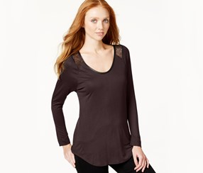 Jeans Lace-Trim Long-Sleeve Top, Elderberry