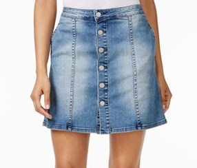 Calvin Klein Button-Front Denim Skirt, Authentic Indigo