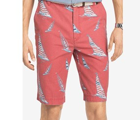Izod Men's Cotton Sailboat Shorts, Red