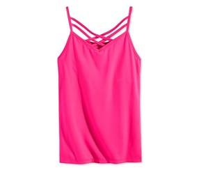 Epic Threads Criss-Cross Shelf Camisole, Pink Yarrow