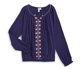 Jessica Simpson Embroidered Peasant Blouse, Navy