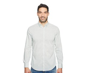 Perry Ellis Mens Travel Luxe All Over Geometric Shirt, Bright White