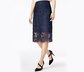 Bar III Women Crochet-Lace Pencil Skirt, Navy Blazer