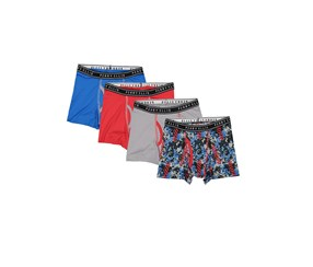Perry Ellis Boy's 4-Pack Boxer Brief, Blue/Grey/Red