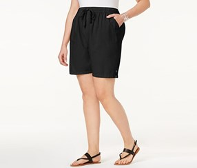 Karen Scott Plus Size Lisa Cotton Shorts, Deep Black