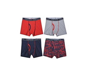 Perry Ellis Boy's 4-Pack Boxer Brief, Black/Red/Grey