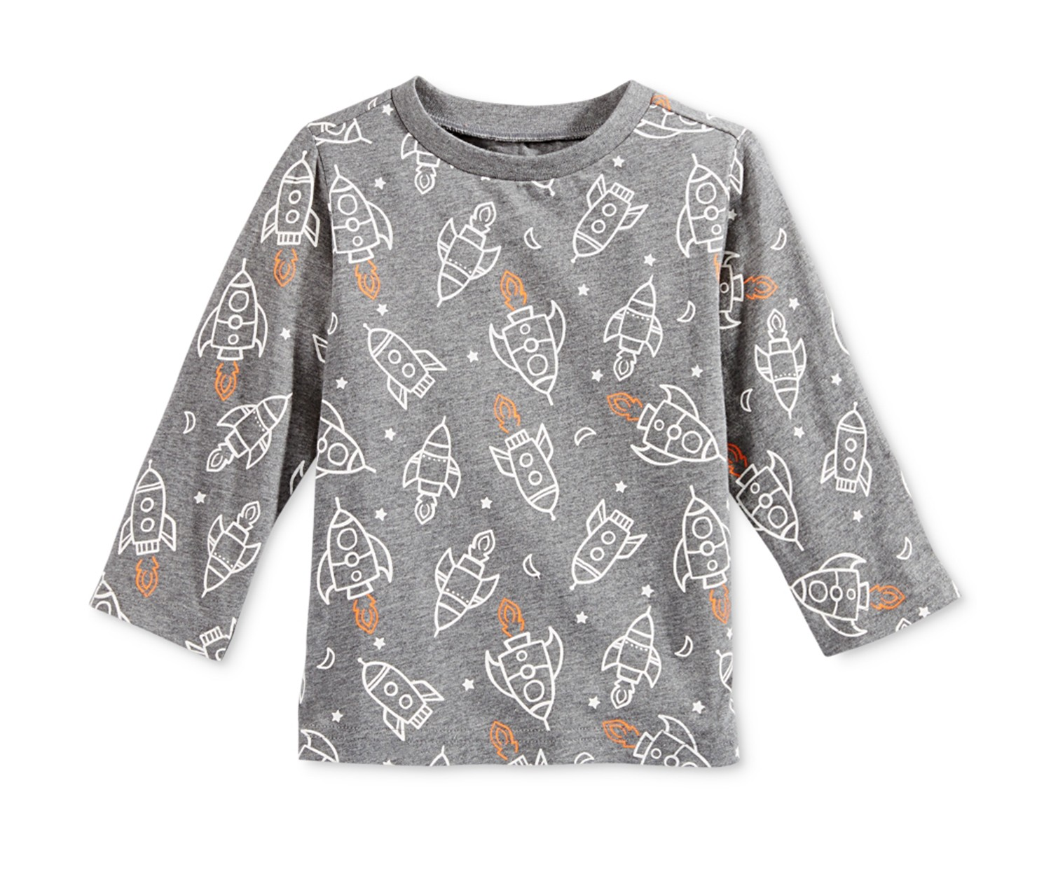 Baby Boys 24 Months ? Pewter Heather First Impressions Rocket-Print Long-Sleeve T-Shirt