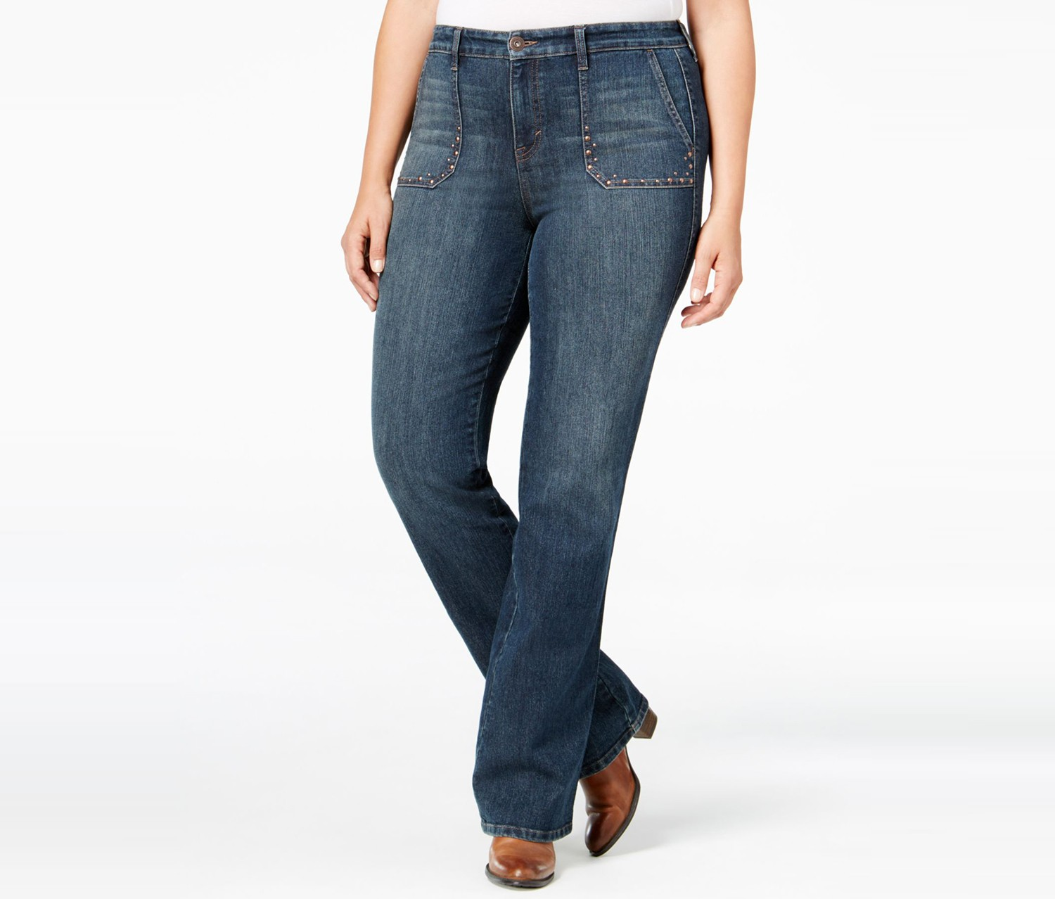 33d72304f5e Home Women Jeans Style   Co. Plus Size Studded Bootcut Jeans