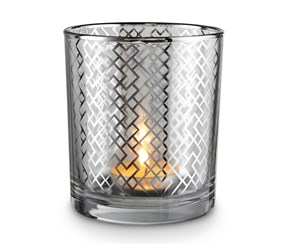 Small Tealight Glass Holder, Silver