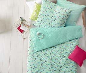 Reversible Jersey Duvet Set, Single, Blue Green Printed