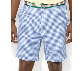 Mens Big and Tall Gingham Checked Linen Shorts