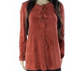 Studio M Women's Faux-suede Lace up Blouse,Rust Orange