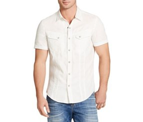 William Rast Men's Let's Take A Ride Embroidered-Back Shirt, Cream