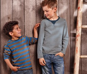 Boy's Shirt, 2 pieces, Blue-Brown/Blue-Gray Striped