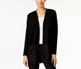 Petite Eyelash-Hem Open-Front Cardigan, Deep Black