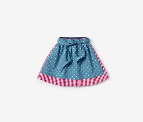 Girls Kids Reversible Skirt, Light Blue/Red