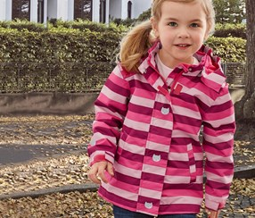 Girls Kids, Thermal Rain Jacket, Raspberry Stripe