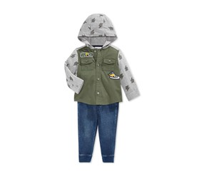 First Impressions Baby Boys 2-Piece Hooded Utility Shirt,  Vintage Wash