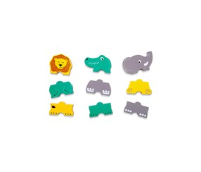 3 Wooden Stacking Animals, Yellow/Gray/Green