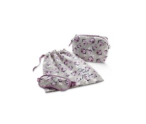 Women's Cosmetic Bag With Laundry Bag And Sleeping Mask, Grey/PPurple