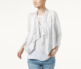 Inc International Concepts Linen-Blend Cropped Cardigan, White