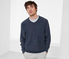 Men's Pullover V-Neckline, Blue