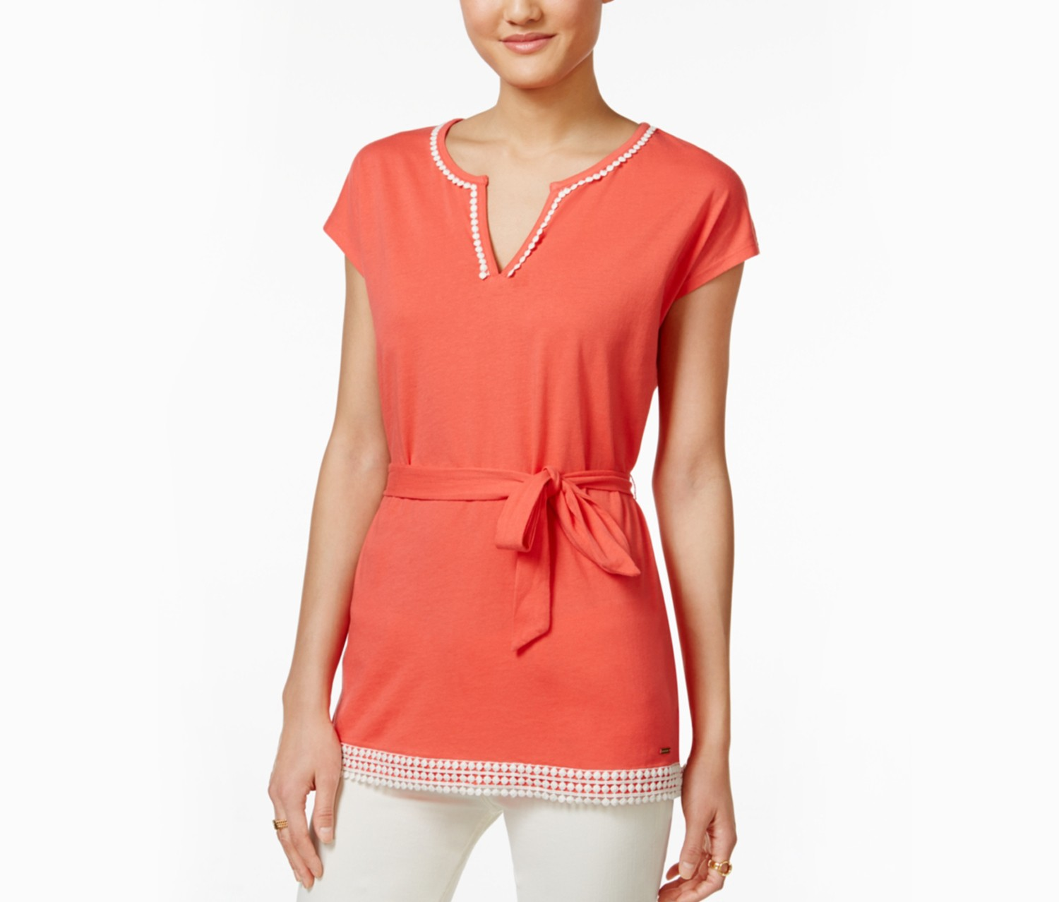 tommy hilfiger womens crochet blouse, cayenne orange - brands for less