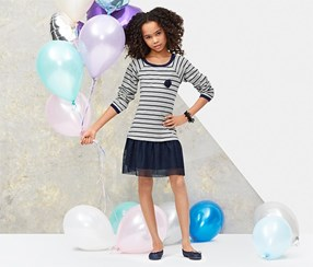 Girls Tulle Dress, Blue/Grey